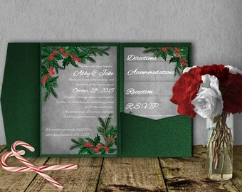 Christmas Wedding Pocketfold Invitation Template, Invitation Suite, Wedding Invitation, Christmas Invitation, Winter Wedding, Mistletoe