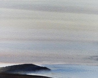 DAWN BAY, East Prawle, Devon, June 2016. Original Watercolour Landscape Painting.