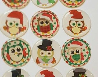 Christmas Owl Cabochons 1 inch circles