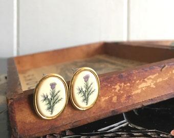 vintage floral earrings ~ purple flower studs