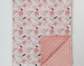 Minky Blanket  - Summer Blooms and Quartz Minky