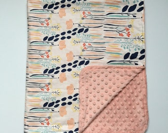 Blanket - Leah Duncan Meadow with Pink Minky