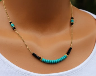 turquoise necklace, turquoise and gold necklace, turquoise and spinel, womens necklace, boho chic beaded necklace, layering necklace,