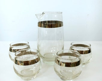 FLAT RATE SHIP: Silver Banded Libby Mid Century Modern Martini Set