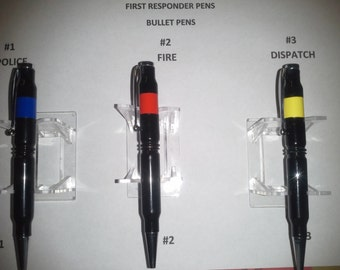 First Responder Pens .....Police, Fire and Dispatch  Thin Blue,Red and yellow/gold lines..... Choose your style...Free shipping
