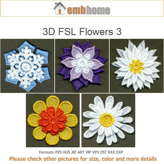 D fsl flowers machine embroidery design free standing lace