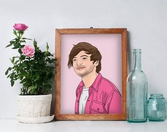 Pink Louis - Art Illustration One Direction Louis Tomlinson Portrait Illustration Drawing Print
