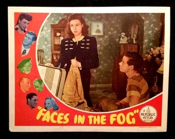 Original 1944 Faces In The Fog Movie Poster Lobby Card, Jane Withers, Vintage Hollywood