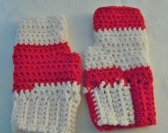 Red and White fingerless gloves; fingerless mittens; fingerless gloves; blue fingerless mitts; blue crochet fingerless gloves