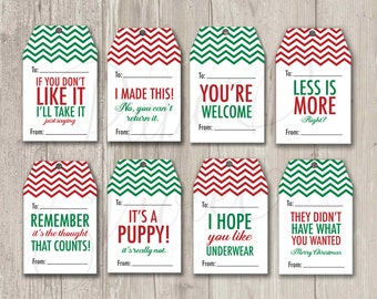 Funny Gift Tags, Christmas Tags, Mean Gift Tags, Holiday Tags | Printable