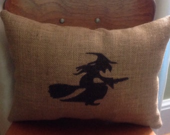 Witch Burlap Halloween Pillow, Halloween Witch Pillow, Halloween Throw Pillow, Front Porch Pillow, Burlap Pillow, Halloween Decorations