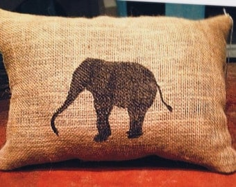 Elephant Burlap Pillow