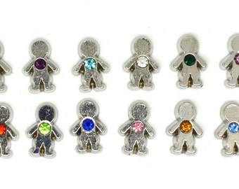 Figurines boys - Boy figure - With birthstone - Birthstone -  Child symbol - To put inside the keychain or the family necklace - Olfee