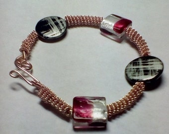 Coiled Wire Beaded Bracelet