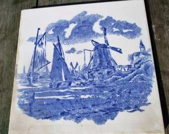 Vintage Blue White Ceramic Tile Windmill Boats Landscape Belgium Pointillism