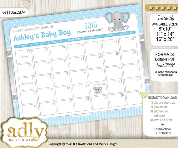 Guess The Birth Date Baby Shower Game: Boy Elephant Guess Due Date Calendar For Baby Shower