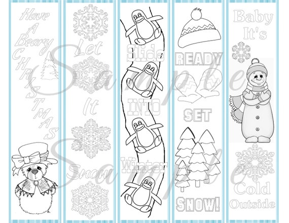 Winter Coloring Bookmarks Bear