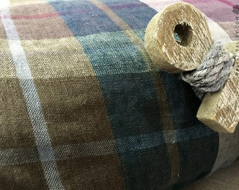 Softened Dark Blue Tartan Linen Fabric Sample- Dark Blue Mustard Purple Linen Fabric-Dense- Light weight- Medium Thickness Linen