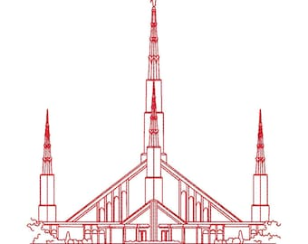 Chicago Illinois LDS Temple, Redwork Embroidery Design, digital instant download file.
