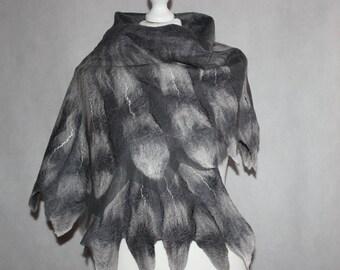Nuno Felted Scarf Gray Owl Wings Shawl Felt merino wool silk chiffon art wrap cape CUSTOM ORDER
