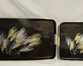 Trays, Set of Two, Lacquer Style, Japan, Black With Wheat Pattern in Gold and Silver