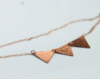 Trio triangle necklace on 14k rose gold filled chain // bridesmaids jewelry // copper bunting necklace // party jewelry // celebration