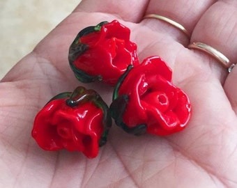 Bud red rose bead Handmade lampwork  glass bead, Lampwork Glass Rose Bud Bead, Glass Bud Bead,Glass Flower Bead