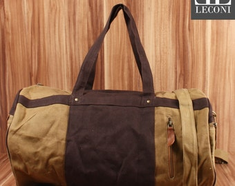 LECONI Weekender sports bag Holdall hand luggage leather of canvas khaki LE2015-C
