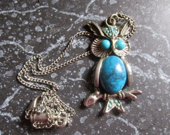 Faux Turquoise Owl Necklace Whimsical, Fun Wise Old Owl