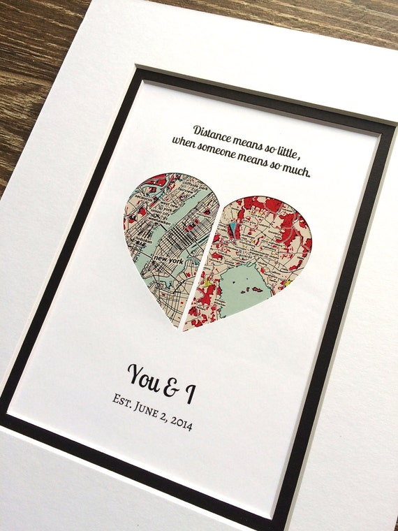 Long distance relationship map art gift gift for girlfriend for What to give girlfriend for valentines day