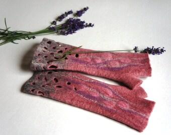 Handmade felted  fingerles-gloves for women. Gloves of merino wool. Arm warmers.