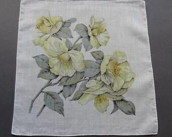 Yellow Buttercup Flowers - Vintage Floral Cotton Hankie Handkerchief