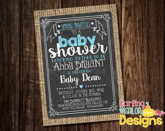Chalkboard Burlap Baby Shower, Baby Shower Invitation, Couples Baby Shower, Couples Shower, You Choose Colors (Digital File) 5x7