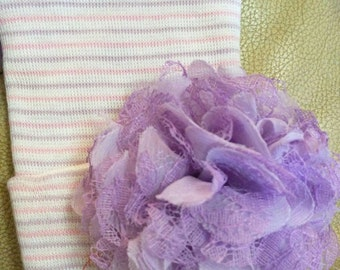 Newborn Hospital Hat W/ Lavender Flower! Pink/Lavender Newborn Hat for Your Baby. Every Baby Girl Should Have One!