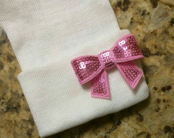 New! Newborn Hospital Hat with a Pink Bow. Baby Girl White Hat. 1st Keepsake! Perfect Gift and Gender Reveal! GratitudeGiftsForAll