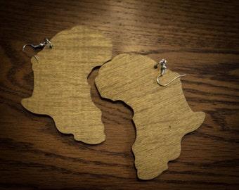 Gold Wood Africa Earrings