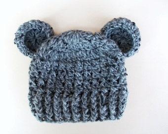 Sale! Newborn bear hat Gray baby hat Wool baby hat Newborn boy hat Baby bear hat Baby animal hat Crochet bear beanie Crochet baby boy hat