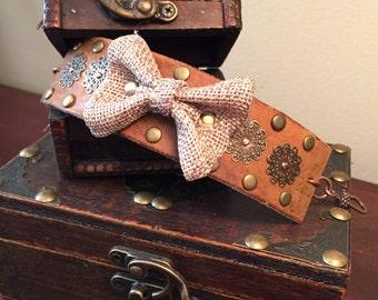 Burlap bow cuff bracelet