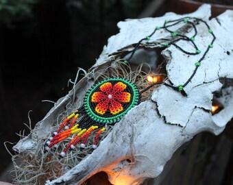 Huichol Floral Beaded Stash Pouch Necklace