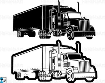 Truck 18 Wheeler Monogram - Clipart / Cutting Files Svg Pdf Png Jpg Eps Dxf Digital Graphic Design Instant Download Commercial Use (00998c)
