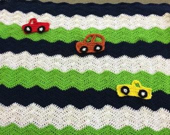 Baby boy car/truck blanket