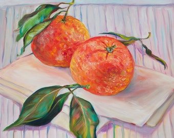 Oil Painting Two Tangerines Original Artwork Home Decor Wall Decor Wall Hanging Art Still Life 40×40сm