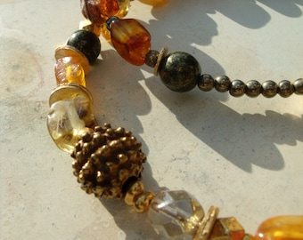 Baltic amber necklace necklace glass beads ceramic of beads pyrite