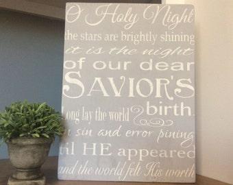 Christmas Decoration, O Holy Night Lyrics Sign, Religious Christmas