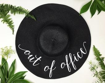 Out of Office Floppy Sun Hat - Sequin Sun Hat - Bride Hat - Wifey hat - Custom hat - Bride hat - Beach Bride - Just Married Hat - Honeymoon