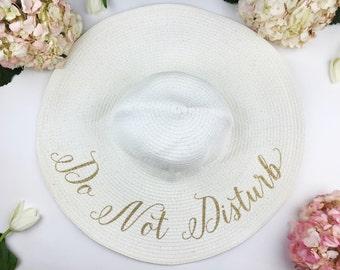 Do not Disturb Floppy Sun Hat - Sequin Sun Hat - Bride Hat - Wifey hat - Custom hat - Bride hat - Beach Bride - Just Married Hat - Honeymoon