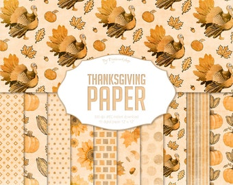 """Thanksgiving Digital Paper """"Thanksgiving Paper"""" watercolor paper pack in autumn colors, fall patterns with pumpkin, turkey, autumn leaves"""