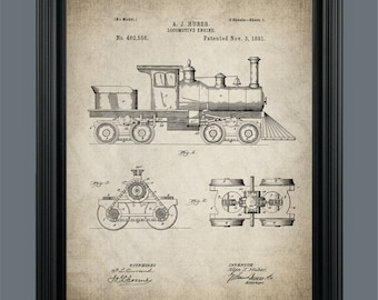 Locomotive Patent Print - Train Engine - Train Art - Train Print -  Patent Print - Instant Download - #076