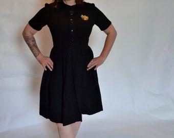 ON SALE!!! 1950s Black Wool Pleated Dress!
