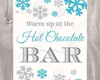 Winter Wonderland Hot Cocoa Bar Sign, Hot Chocolate Bar Sign, Snowflake Glitter Blue Sign, INSTANT DOWNLOAD, Printable Sign - 2 sizes-